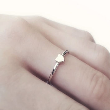 Tiny Sterling Silver Heart Ring, Thin 925 Sterling Silver Stacking Rings, Dainty Simple Ring, Gifts for Her,  Minimalist Jewelry