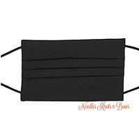Black Face Mask, Black Cotton Face Mask, Adult / Kids, Made in the USA, Ships out FAST