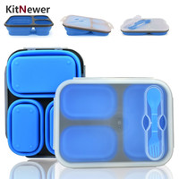 KITNEWER Portable lunch box Silicon Collapsible microwave Lunch Box bento lunch box-thermos folding lunch box set food container