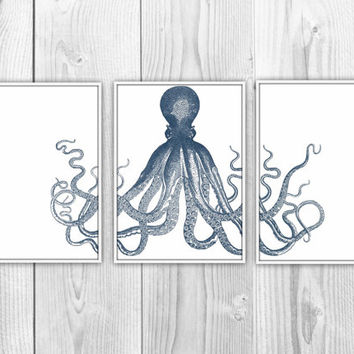 Nautical Octopus Trio - Set of 3 Art Prints - Navy Blue Octopus Triptych - Beach House, Bathroom, Nursery Decor