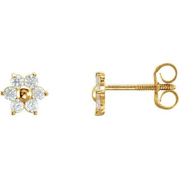 14K Yellow Gold Cubic Zirconia Cluster Flower Youth Earrings
