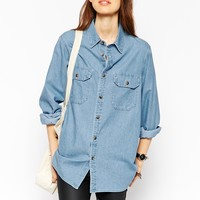 ASOS Denim Boyfriend Shirt in Pretty Vintage Wash