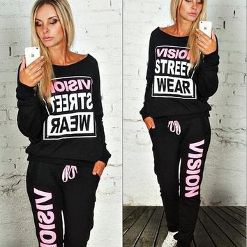 Autumn round necked sets of letters two-color sweater long-sleeved two-piece suit MMS1067