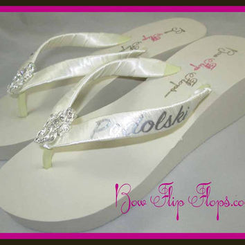 Mrs Wedge Bridal Flip Flops Rhinestone Pearl  Jewel Bling Satin New Last Name Ivory white wedge platform  Wedding Bride heel brides