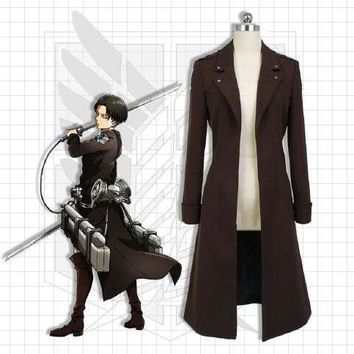 Anime Attack on Titan Cloak Cosplay Costume Eren Jaeger Trench Coat Uniform Size S-XL