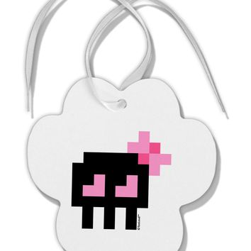 Retro 8-Bit Skull with Pink Bow Paw Print Shaped Ornament