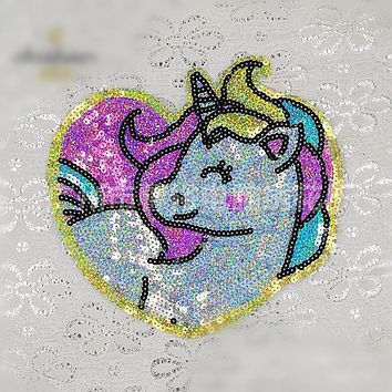 Unicorn Patches For Clothes Sew On Sequin Applique Applications Motif Embroidery Patches Sticker DIY Accessories