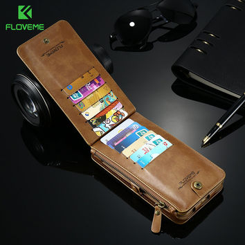 FLOVEME Retro Leather Wallet Case For Samsung S8 Galaxy S8 Plus 18 Card Slots Stand Case Cover For Samsung S8 S7 Edge G9350 Bags