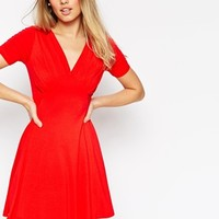 ASOS Skater Dress with Ruched Bust Detail