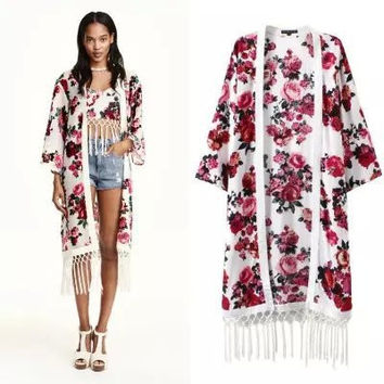 Stylish Print Tassels Cotton Women's Fashion Tops Jacket [5013228356]
