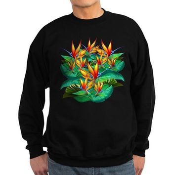 Bird of Paradise Flower Exotic Nature Jumper Hoody Sweatshirt (dark)