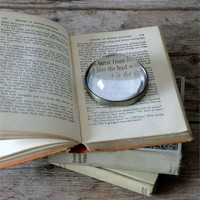 """3"""" Round Metal & Glass Paperweight/Magnifying Glass"""