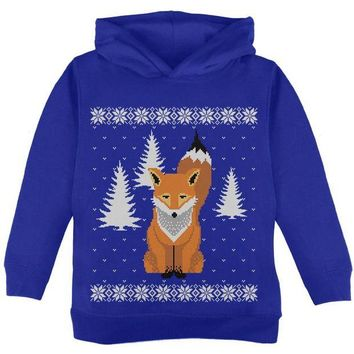 ONETOW Big Fox Ugly Christmas Sweater Toddler Hoodie
