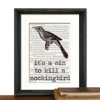 To Kill a Mockingbird - It's A Sin To Kill A Mockingbird Print Vintage To Kill A Mockingbird Book Page - Beautifully Matted