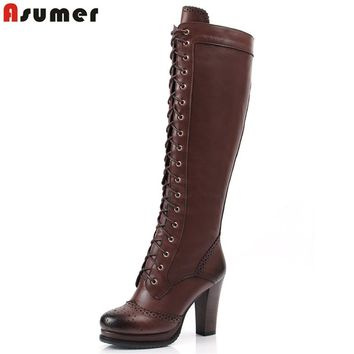 ASUMER 2017 New winter lace up pu+ genuine leather boots shoes high heels women's knee high boots sheepskin motorcycle boots