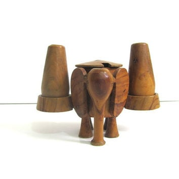 vintage wood elephant salt and pepper shakers with toothpick holder