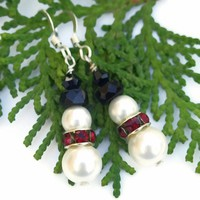 Snowman Christmas Handmade Earrings Swarovski Pearls Crystals Beaded Holiday Jewelry