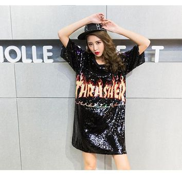 Punk Style Letter With Fire Sequins Dress BF Design Women O-Neck Tshirt Dress Casual Loose Summer Dresses Vestido