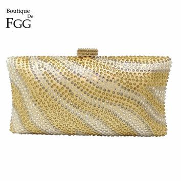 Boutique De FGG Blue Striped Rhinstone Evening Clutch Women Crystal Minaudiere Handbag Bridal Purse Wedding Chain Shoulder Bag