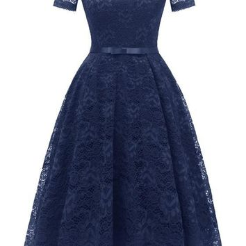 Navy Blue Lace Bow Pleated Off Shoulder Backless Tutu Banquet Elegant Party Midi Dress