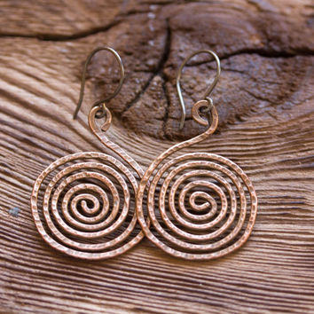 Tribal inspired earrings - big dangle earrings - copper swirls