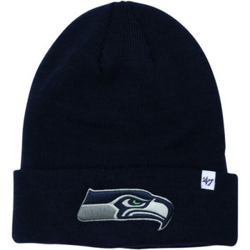 Seattle Seahawks '47 Brand Raised Cuffed Knit Hat – College Navy