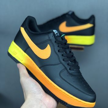 HCXX 19June 1038 Nike Air Force 1 07 LV8 Solo Cushion Classic Low Sports Board Shoes black yellow
