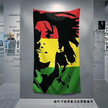 Bob Marley Jamaican Reggae Rock Music Flag Banner Cloth Art Retro Poster Tapestry Wall Sticker Hanging Painting Home Decoration