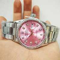 """Rolex"" Fashionable Ladies Men Delicate Diamond Quartz Watch Wristwatch Pink I/A"