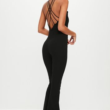 Missguided - Black Strappy Kickflare Jumpsuit