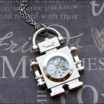 Silver Robot Necklace SALE Enchanted by TheEnchantedLocket