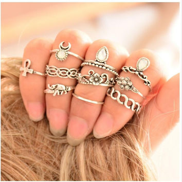 10pcs/Set Anel Midi Finger Ring Set Fashion Punk Gold Silver Knuckle Rings for Women Female Boho Jewelry Vintage Bague Femme 0527