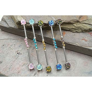 Druzy Industrial Barbell