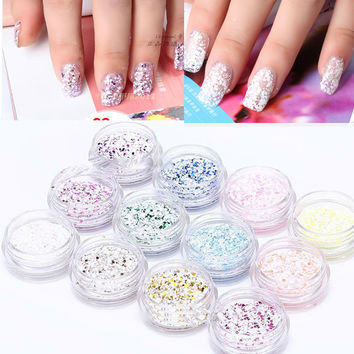 Free Shipping 12 Pot 3D Nail Art Decoration Nail Glitter Snow Powder Tool Manicure For Acrylic Nail Art UV Gel