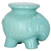 Light Blue Global Boho Moroccan Ceramic Elephant Stool