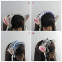 4 styles, With Bells, LOLITA maid lace ,White and light pink Fox ears CAT ears HEADBAND ,Long Fur Ears, headband Costume Cosplay
