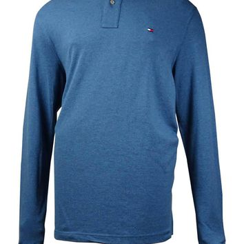 Tommy Hilfiger Men's Long-Sleeve Classic-Fit Polo Shirt (Real Teal, LT)