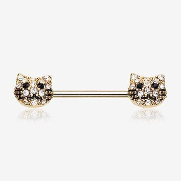 A Pair of Golden Kitty Cat Multi-Gem Nipple Barbell Ring