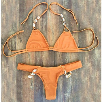 CUTE BROWN SHELL TWO STRAPS TWO PIECE BIKINI