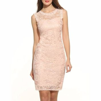 Women's Vintage Sleeveless Floral Lace Dress Sexy Slim Evening Sheath Bodycon Dresses Vestido de feste