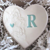 custom initial  ring dish - Valentines Heart - Personalized  ring holder - mint green white- Gift boxed -   (w)