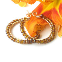 Beaded hoop earrings - wire wrapped brass with gold glass beads