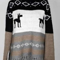 Coffee Christimas Deer Print Long Sleeve Tassel Hem Jumper - Sheinside.com
