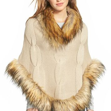 Women's Linda Richards Cable Knit Wool Poncho with Faux Fur Trim - Beige