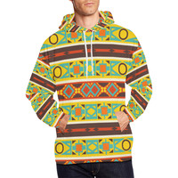 Ovals rhombus and squares All Over Print Hoodie for Men (USA Size) (Model H13) | ID: D2456725