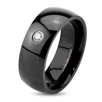 Men's Black Stainless Steel Wedding Band Ring