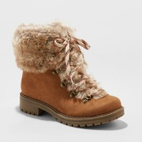 Women's Lilliana Faux Fur Lace Up Boots - Universal Thread™ Chestnut
