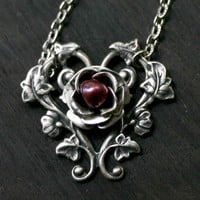 Gothic Rose Necklace in Silver with Cranberry by robinhoodcouture