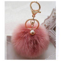 Adorable Dusty Pink Fur Pom Pom Gold Keychain, Purse Charm