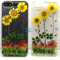 Floral iphone 5 case iphone 4 case iphone 4s case Iphone 5s case 5c Cover Dried Dry daisies Pressed Flower Yellow rose Real Flower resin